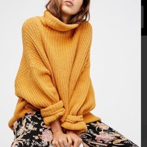 Free People Swim Too Deep Pullover Sweater Yellow